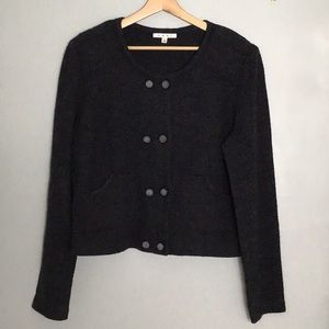 CABI Gray Wool Sweater Pockets Buttons Cropped